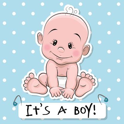 416x416 Cute Cartoon Baby Boy Vector Art Illustration