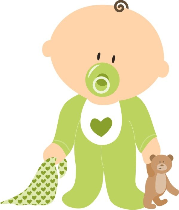 599x700 Drawing Of Baby Boy With Teddy Bear And Dummy Free Image