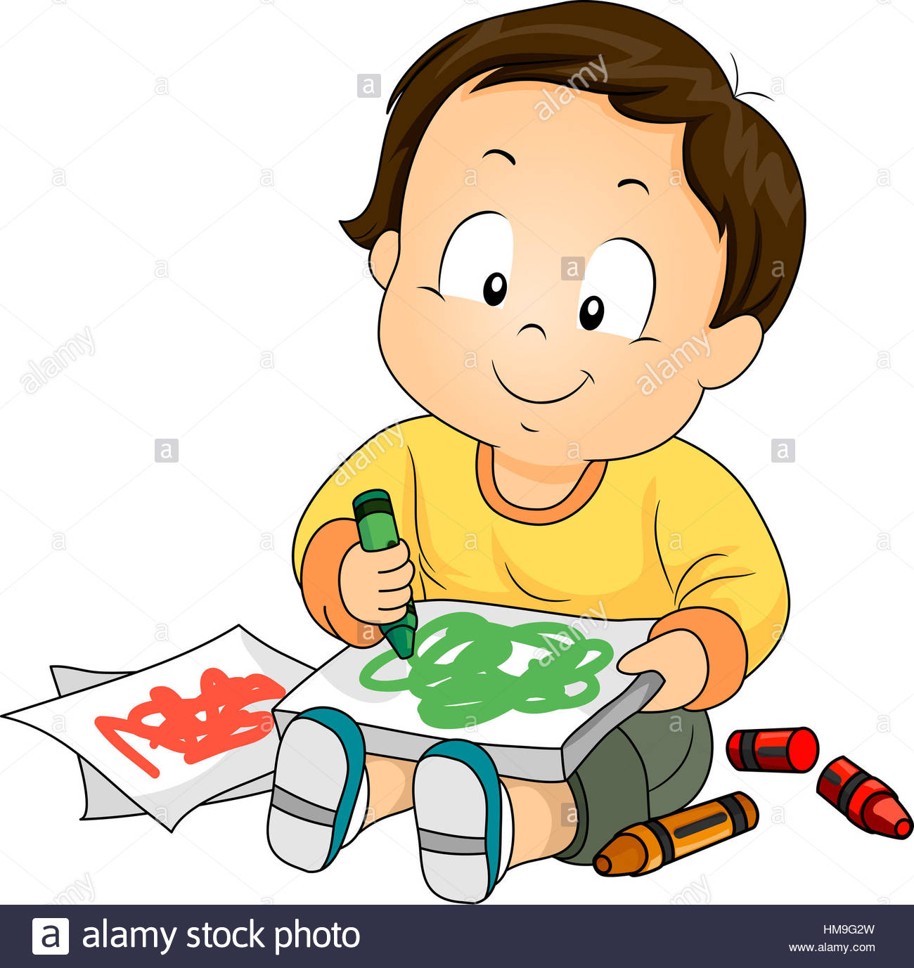 1300x1377 Illustration Of A Baby Boy Drawing Doodles With Crayons Stock