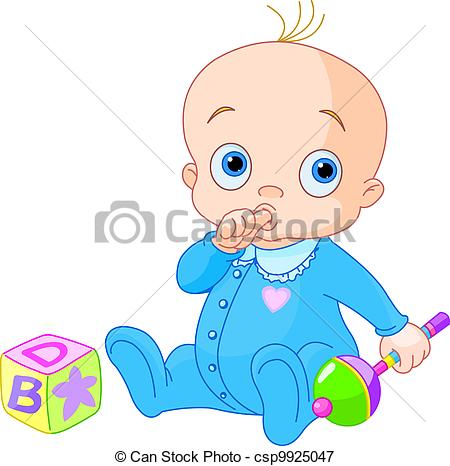450x466 Sweet Baby Boy. Baby Boy Playing With Rattle Vectors Illustration