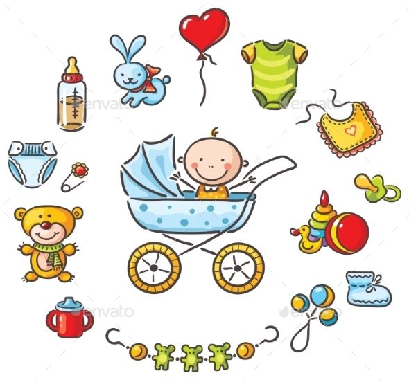 590x549 Baby In A Baby Carriage With Baby Things Baby Carriage, Baby