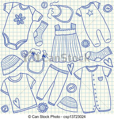450x470 Baby Clothes Doodles On School Squared Paper Vector Illustration
