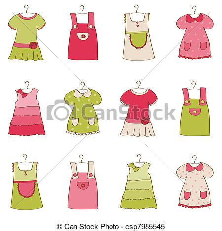 450x470 Baby Girl Dress Collection Clipart Vector