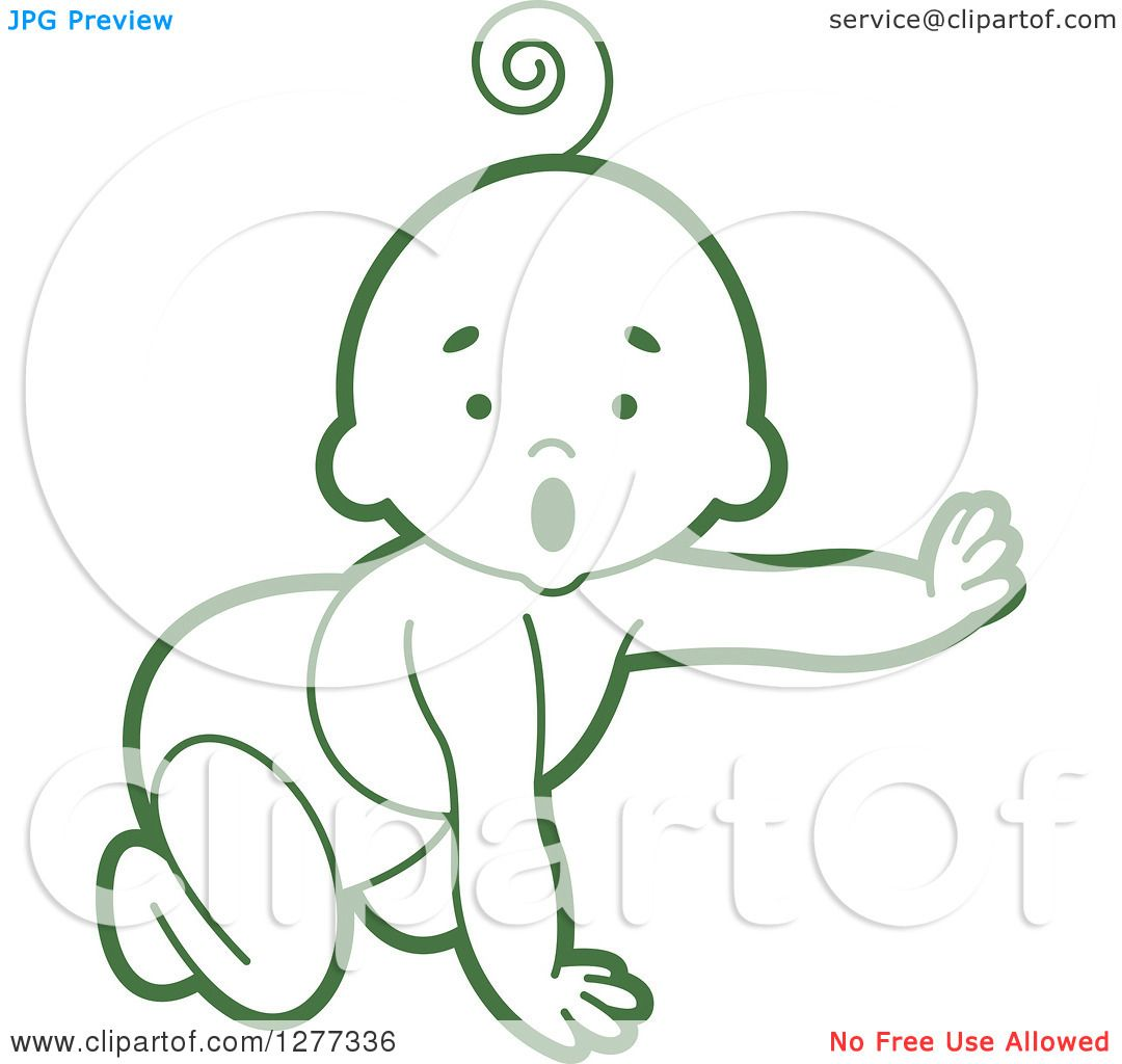 1080x1024 Clipart Of A Surprised Green Baby Crawling In A Diaper