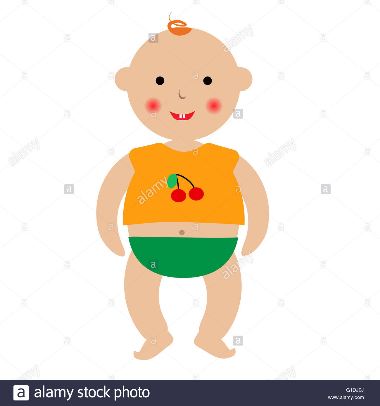 1300x1390 Standing Cartoon Baby. Laughing Baby Standing In T Shirt And Pants