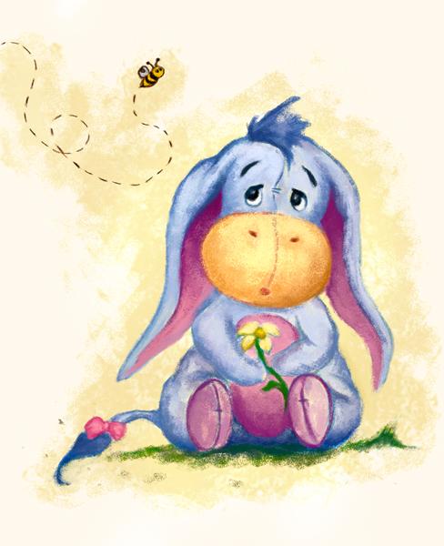 488x600 Winnie The Pooh Baby Eeyore Art Print