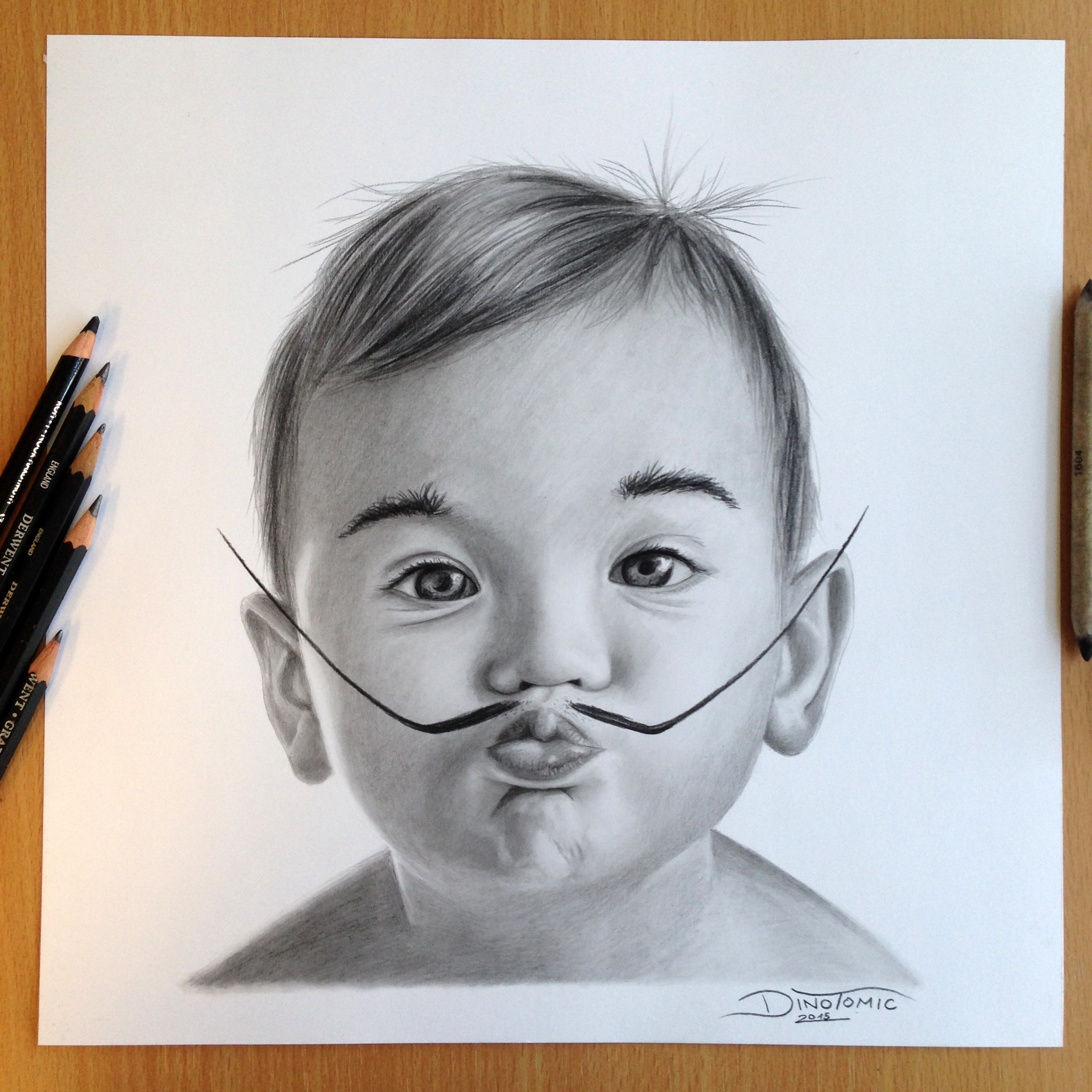 2448x2448 Baby Einstein Pencil Drawing By Atomiccircus
