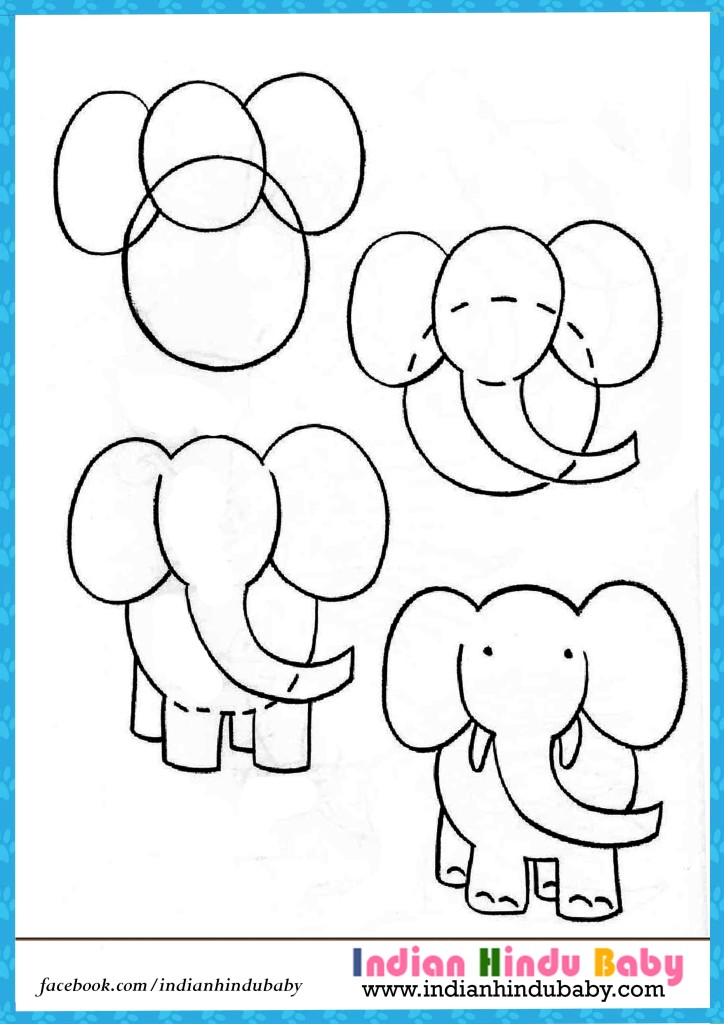 724x1024 Elephant Step By Step Drawing For Kids Indian Hindu Baby