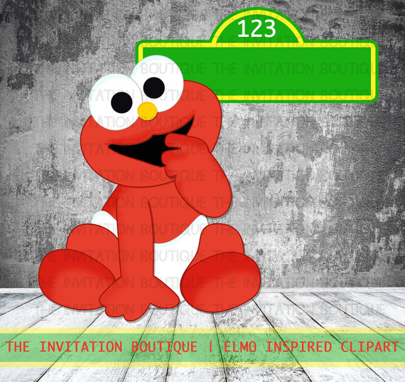 570x537 Baby Elmo Clipart Hand Drawn Digital File Instant Download
