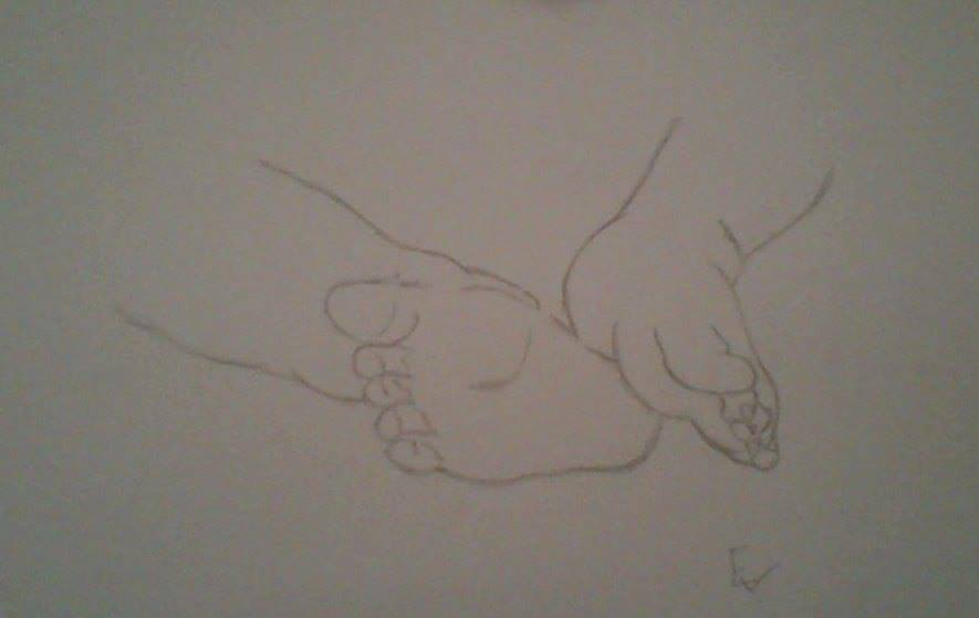 885x559 Baby Feet Drawing. By Emma Smile