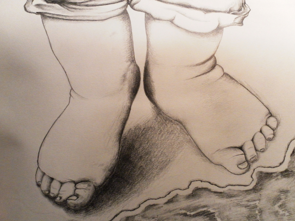 1024x767 Pencil Drawing Of Baby Feet On The Beach From Within A Book