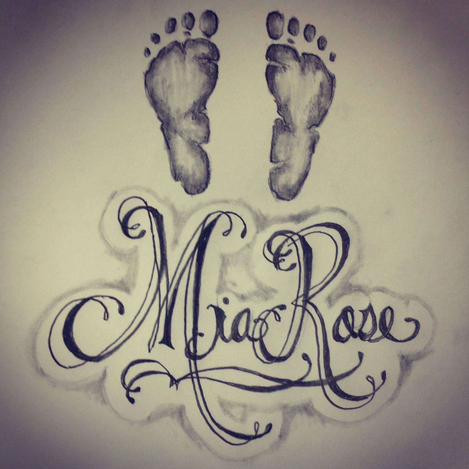 1842x1842 Baby Footprints Name Tattoo Sketch Requested From A Client