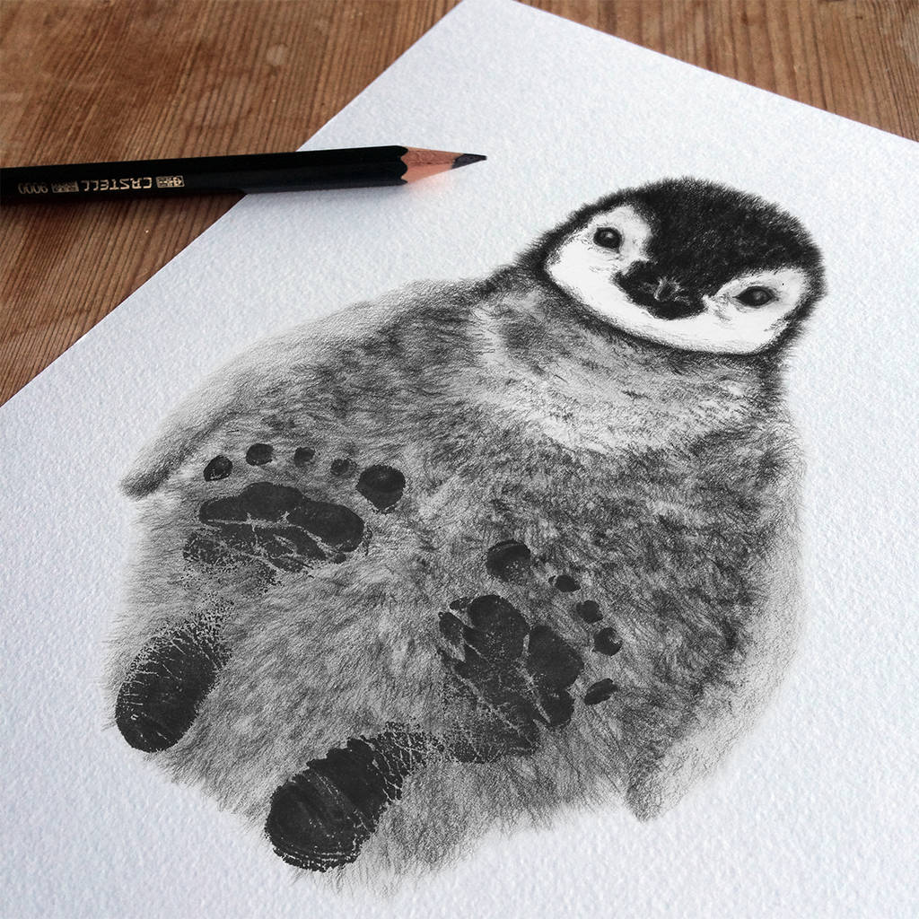1024x1024 Bespoke Personalised New Baby Footprint Penguin By Lucy Coggle