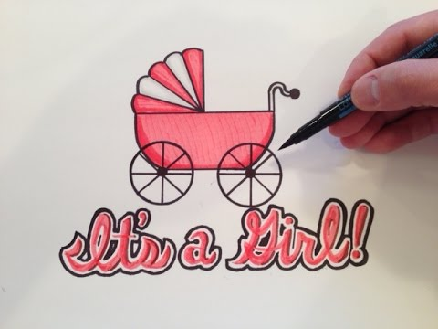 480x360 How To Draw It's A Girl! Baby Shower