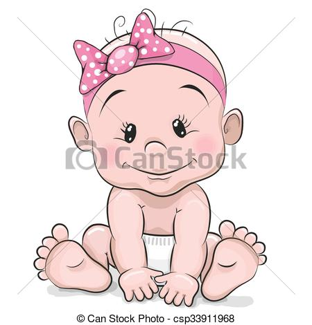 450x470 Cute Cartoon Baby Girl Isolated On A White Background Clip Art