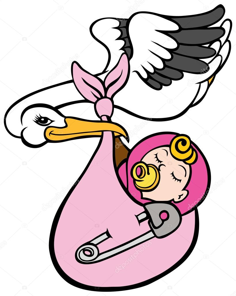 819x1024 Stork Delivering Baby Girl Stock Vector Cteconsulting