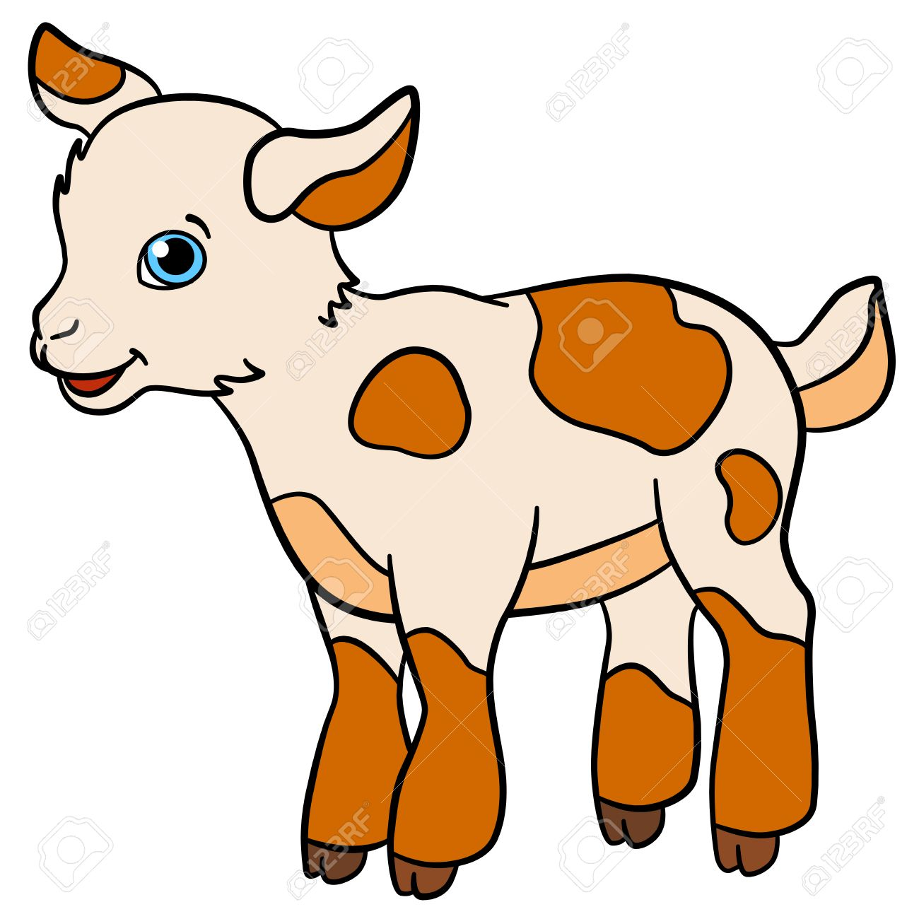 1300x1300 Cartoon Farm Animals For Kids. Little Cute Spotted Baby Goat