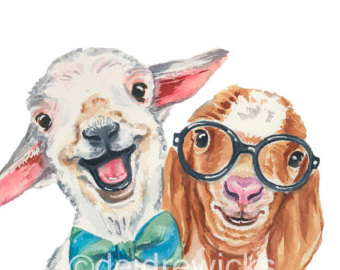 340x270 Watercolor Goat Etsy