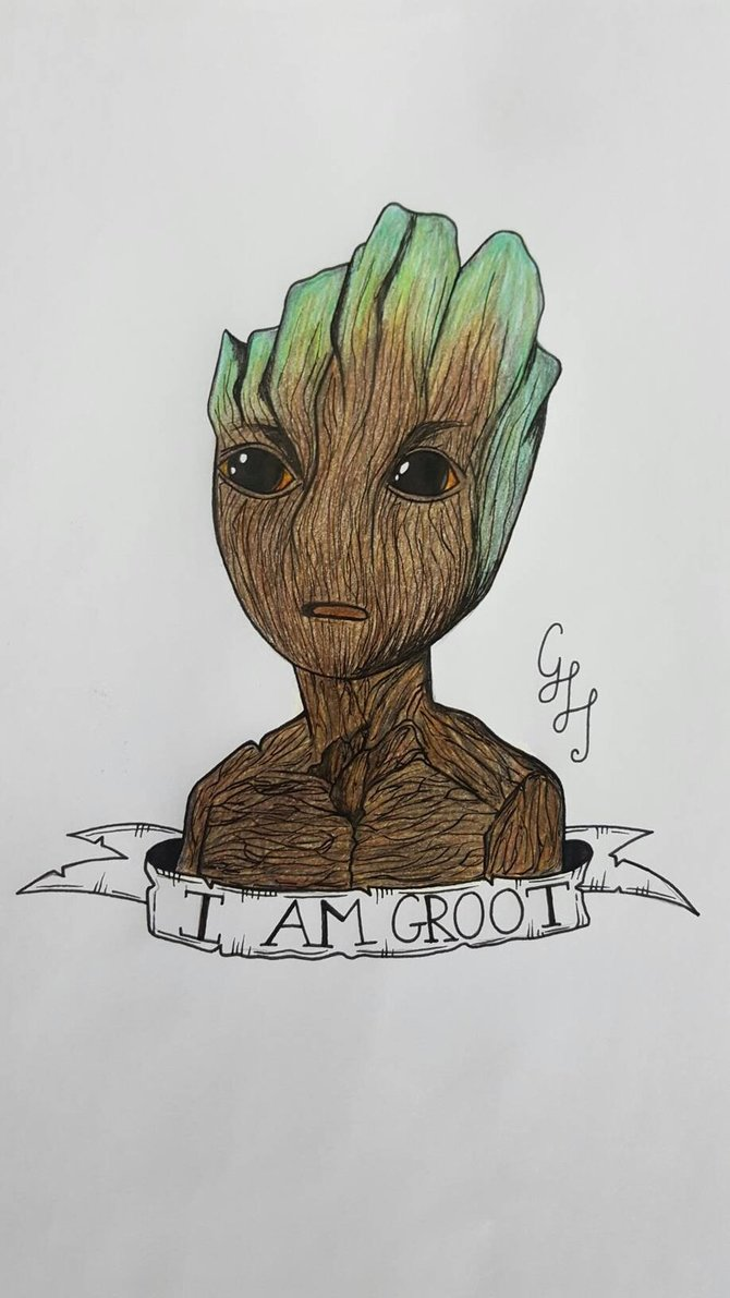 670x1191 Baby Groot Drawing By Gemmaharding