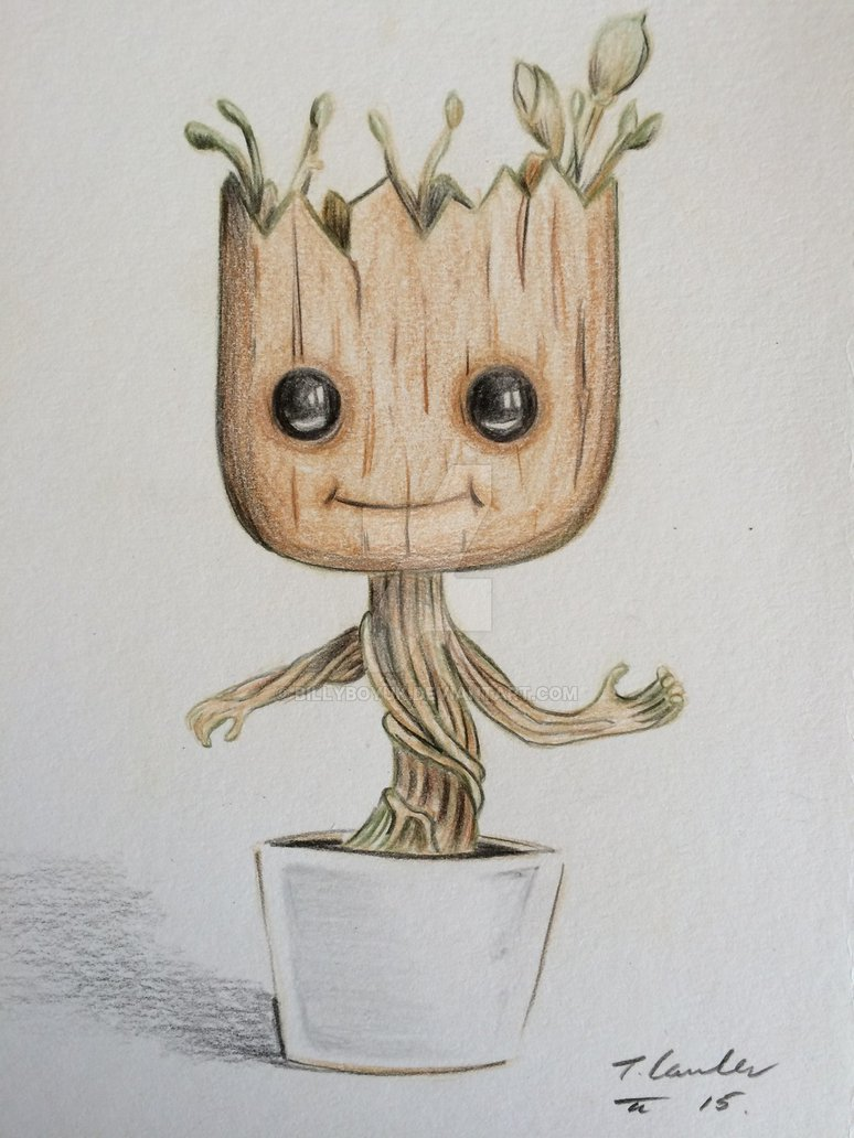 774x1032 Dancing Baby Groot Colour Pencil Drawing By Billyboyuk