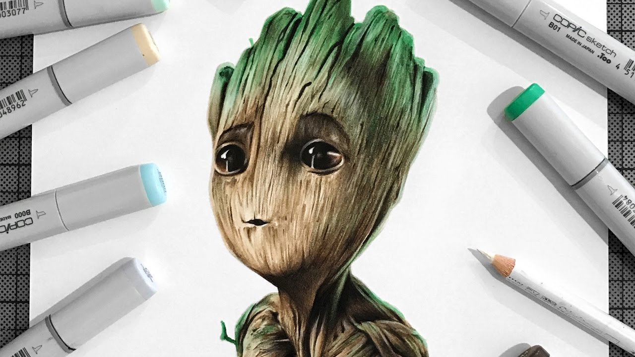 1280x720 Drawing Baby Groot