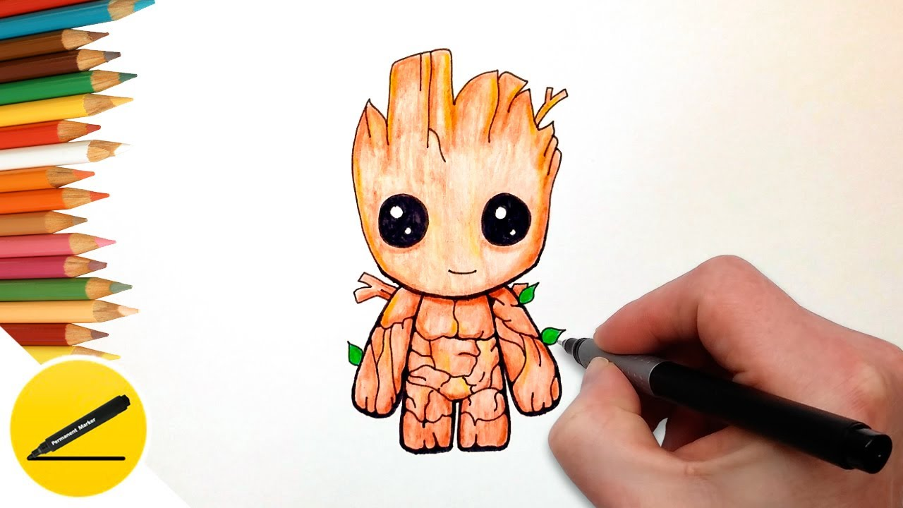 1280x720 How To Draw Baby Groot Easy (Guardians Of The Galaxy)