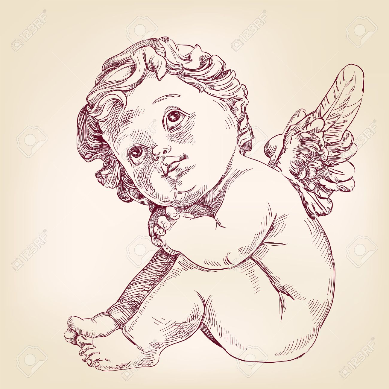 1300x1300 Angel Or Cupid Little Baby L Hand Drawn Vector Llustration