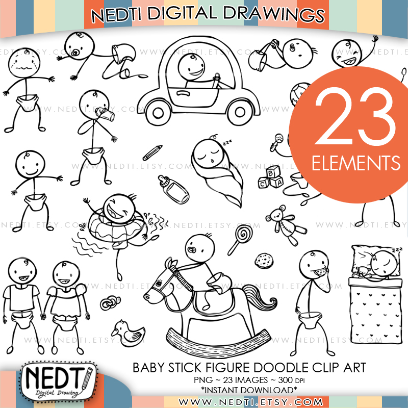 800x800 Baby Stick Figure Hand Drawn Clipart By Nedti By Nedti