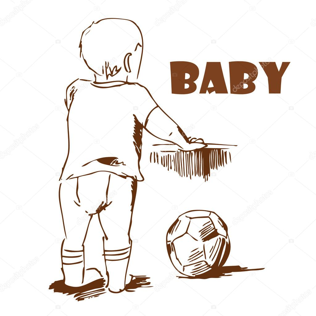 1024x1024 Baby With A Ball. Hand Drawing. Stock Vector Nataliapertseva