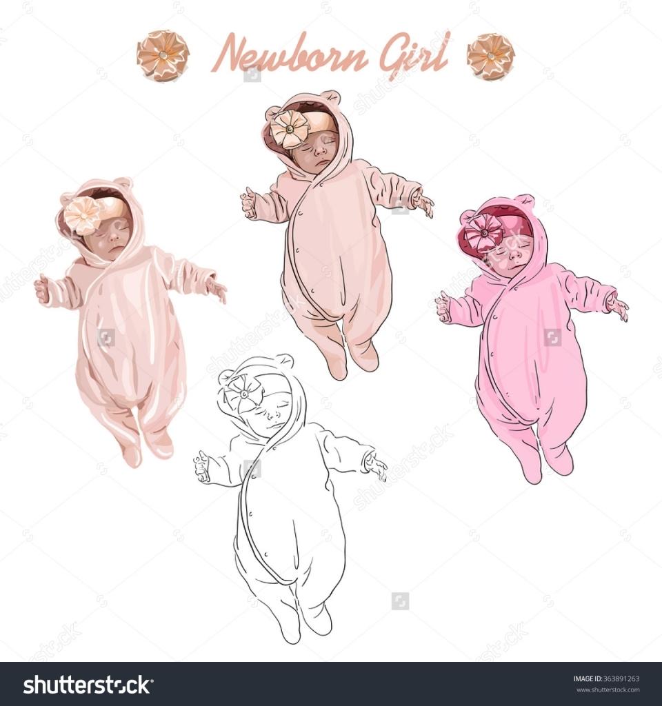 960x1024 How To Draw A Newborn Baby Newborn Ba Girl Vector Hand Drawing