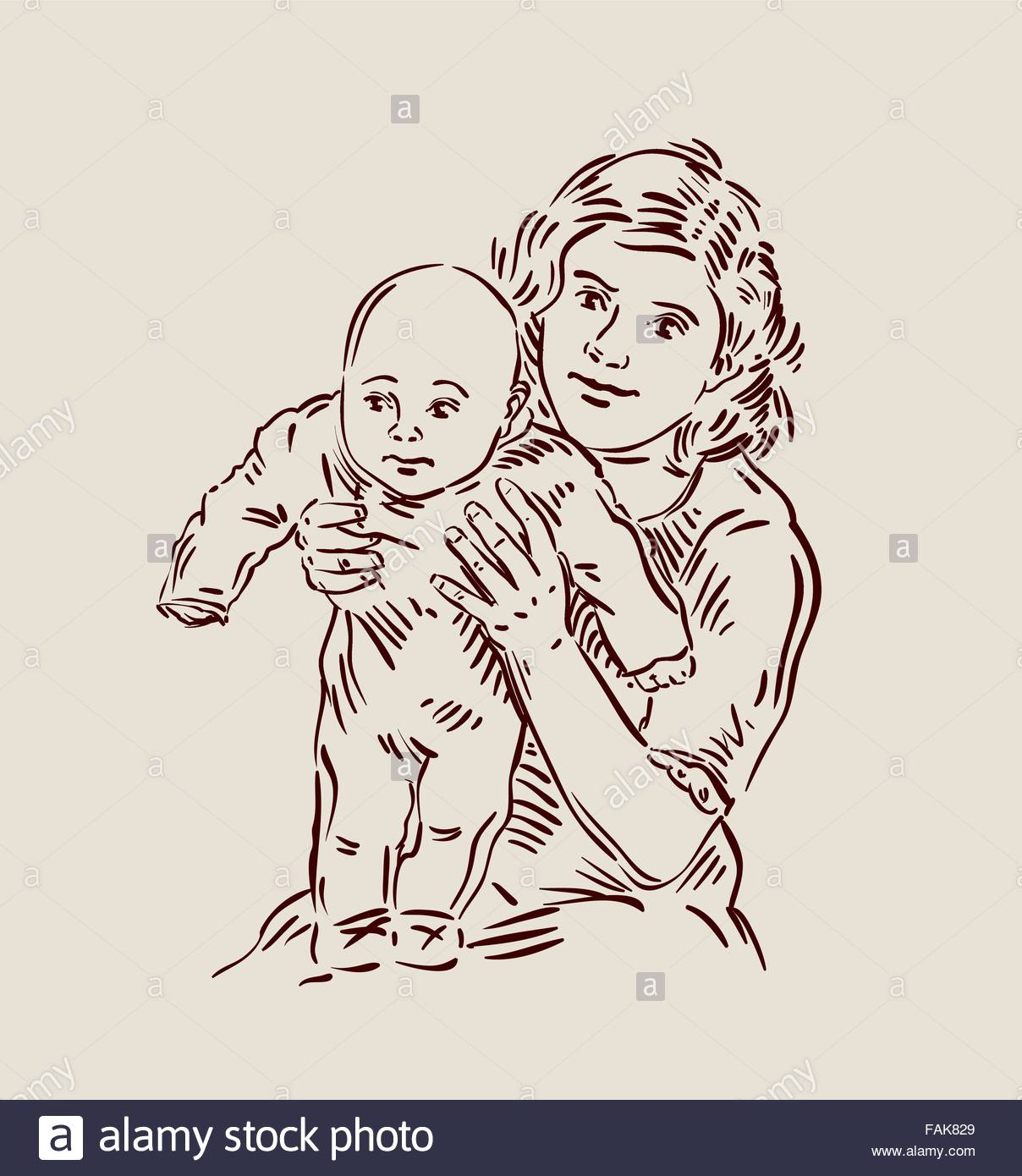 1208x1390 Hand Drawn Young Mother With A Baby. Sketch. Vector Illustration