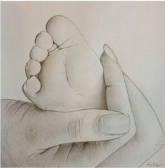 236x240 Custom Charcoal Drawing From Your Photo Of Baby Hands (Not