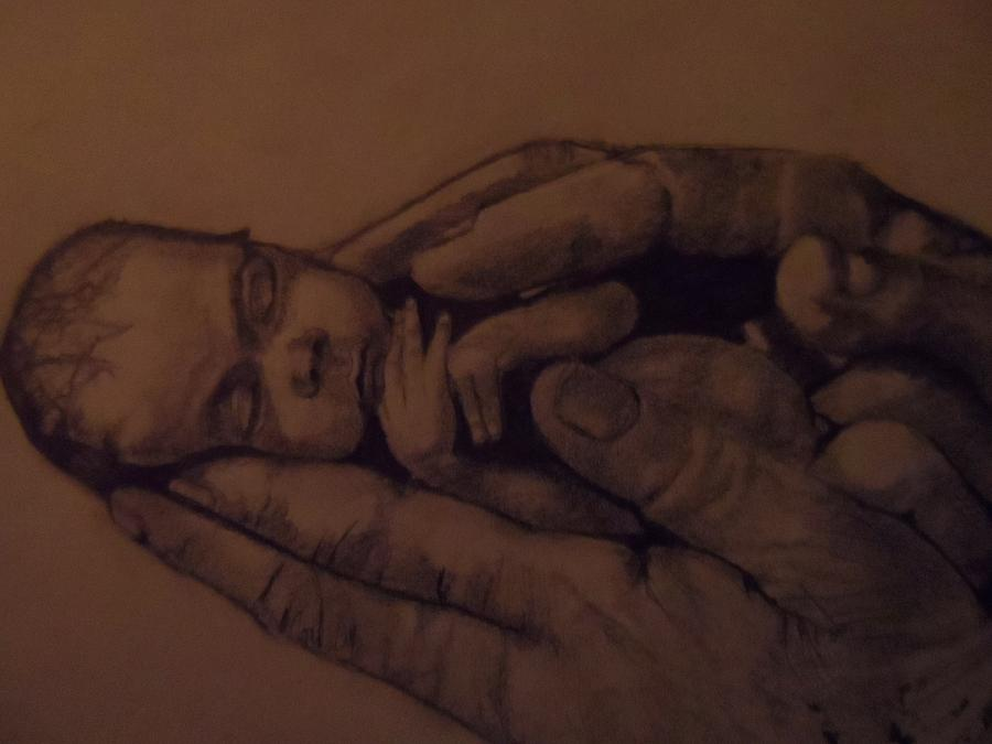 900x675 Prem Baby In Hands Drawing By Paul Gemmell