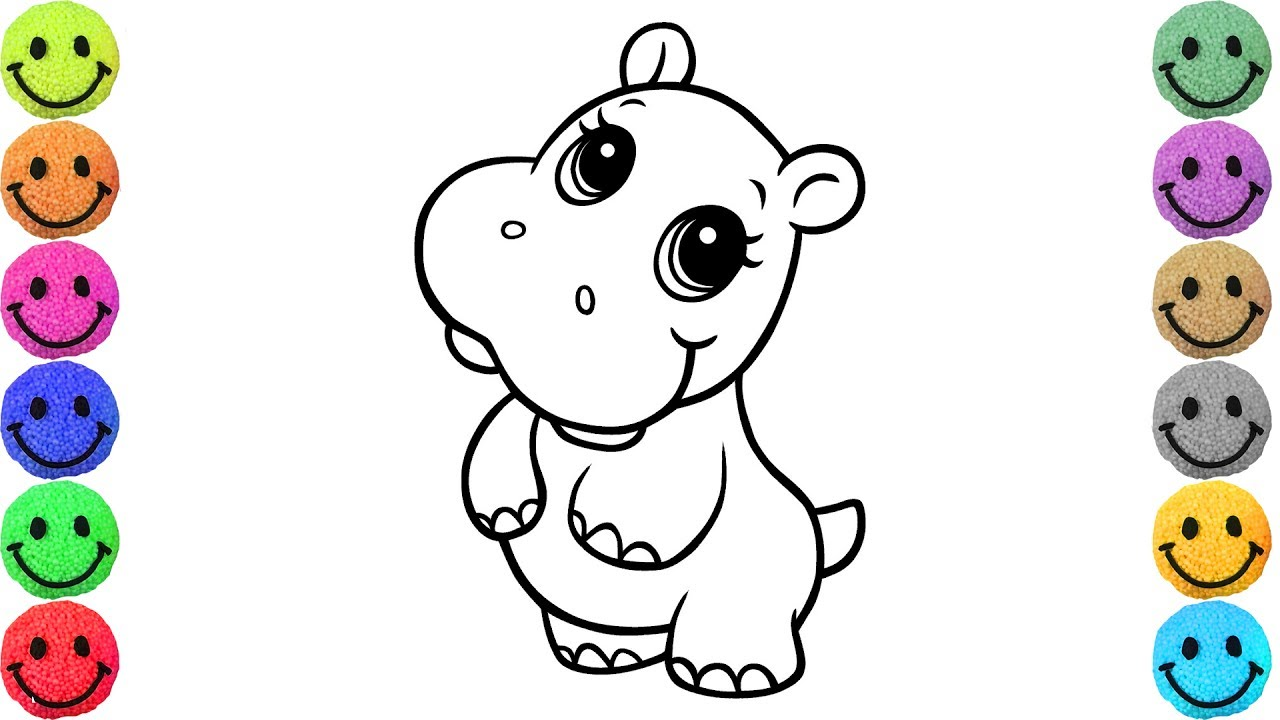 1280x720 How To Draw Baby Hippo Coloring Pages For Kids Creativity