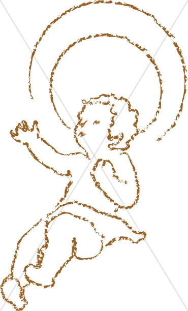 370x612 Chalk Drawn Baby Jesus With Halo Baby Jesus Clipart