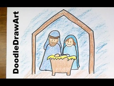 480x360 Drawing How To Draw A Cartoon Nativity Scene