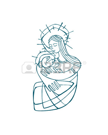 360x450 Hand Drawn Vector Illustration Or Drawing Of A Mother Virgin