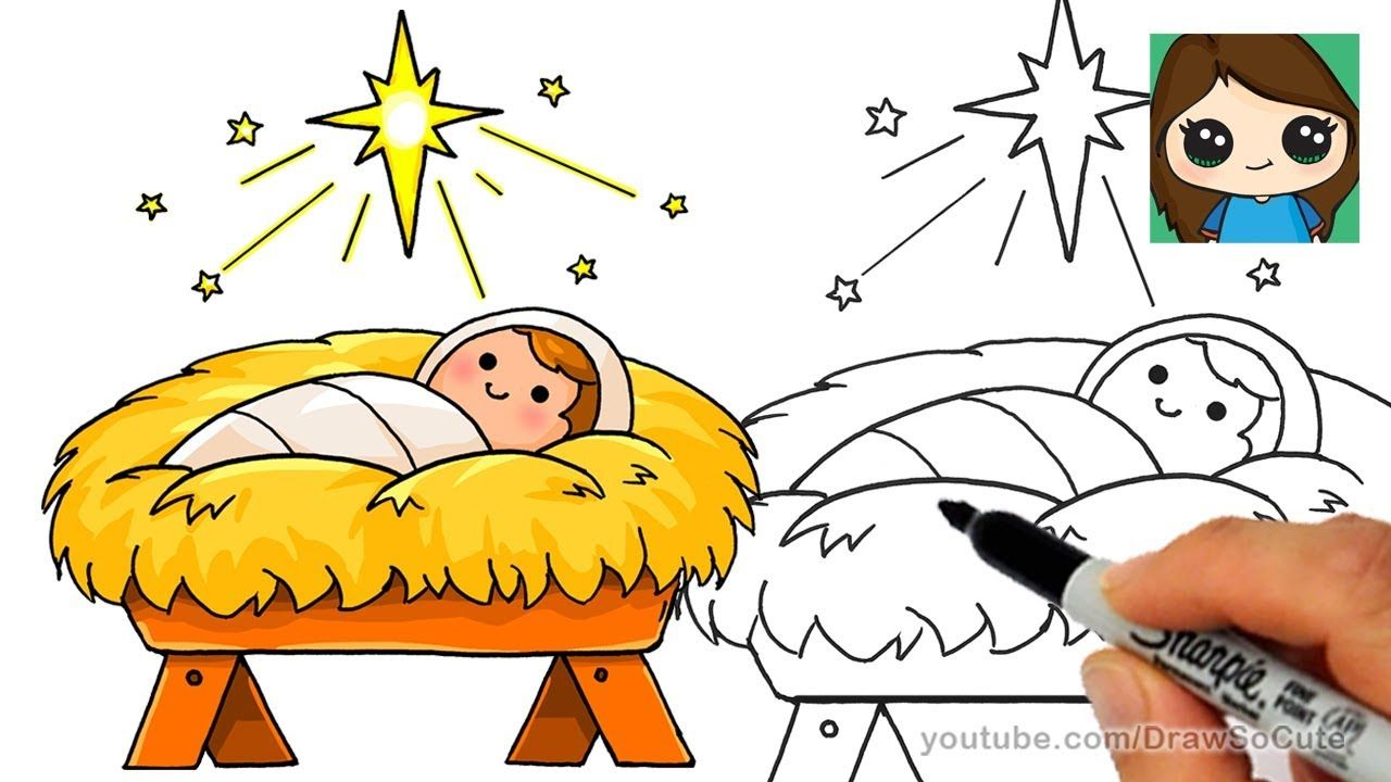 1280x720 How To Draw Baby Jesus Easy Star Of Bethlehem Nativity Scene