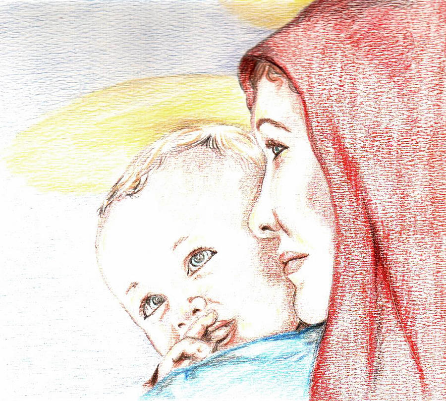 900x809 Madonna And Baby Jesus Drawing By Denny Phillips