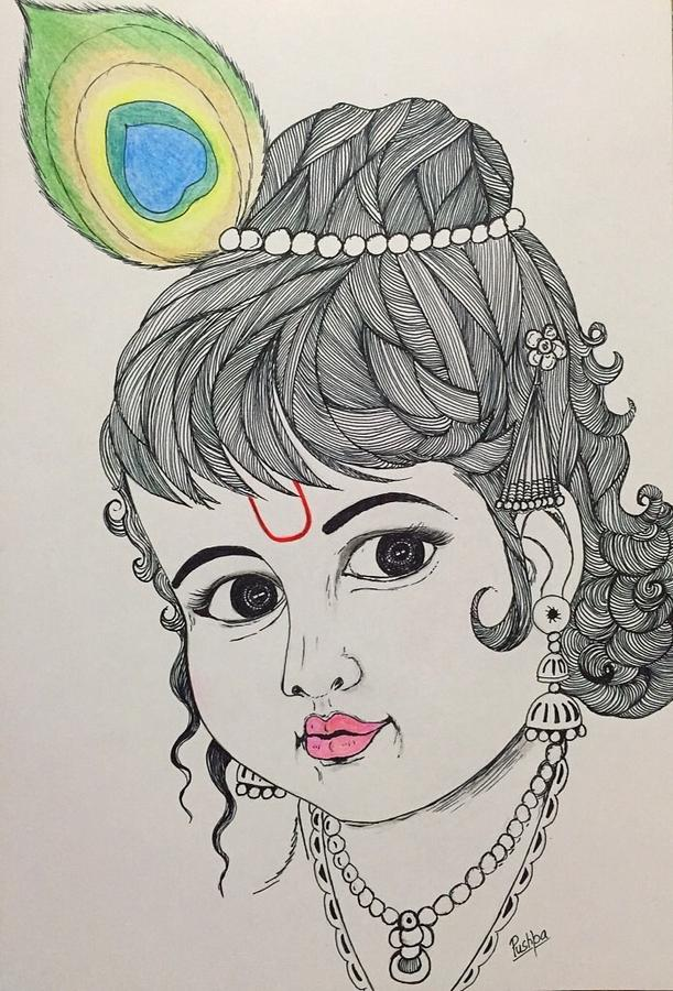 611x900 Bal Krishna Drawing By Pushpa Sharma
