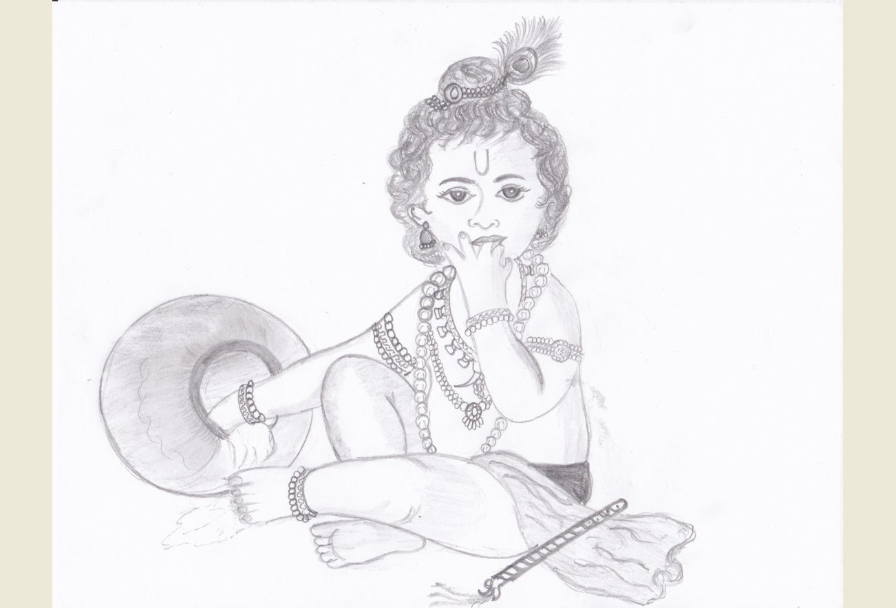 1302x884 Drawing Young Krishna