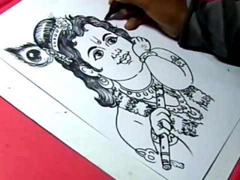 480x360 How To Draw Lord Little Krishna Drawing For Kids