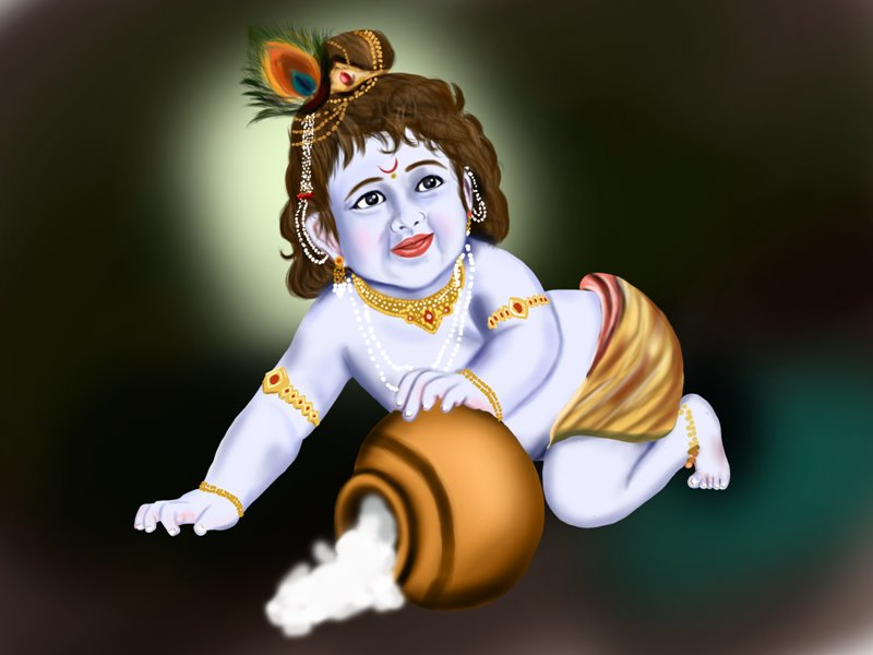 800x600 Learn How To Draw Baby Lord Krishna (Hinduism) Step By Step