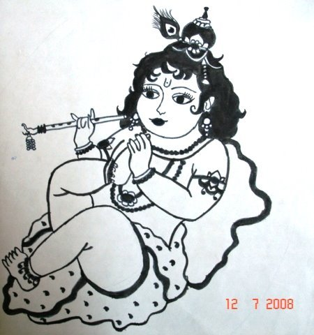 Pencil Sketches Of Baby Krishna