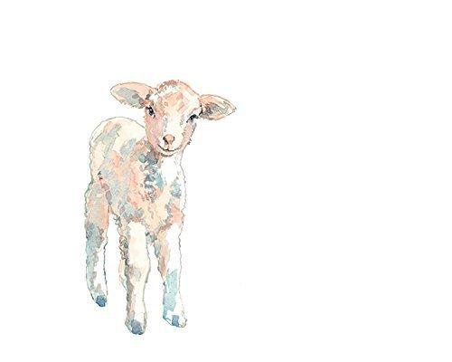 500x400 Baby Lamb Watercolor Print (Unframed) Handmade