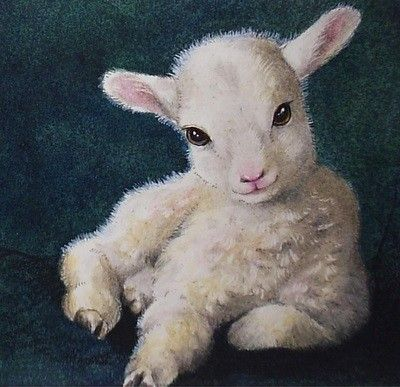 400x387 Easter Spring Baby Lamb Art From Small Animal Painting By Melody