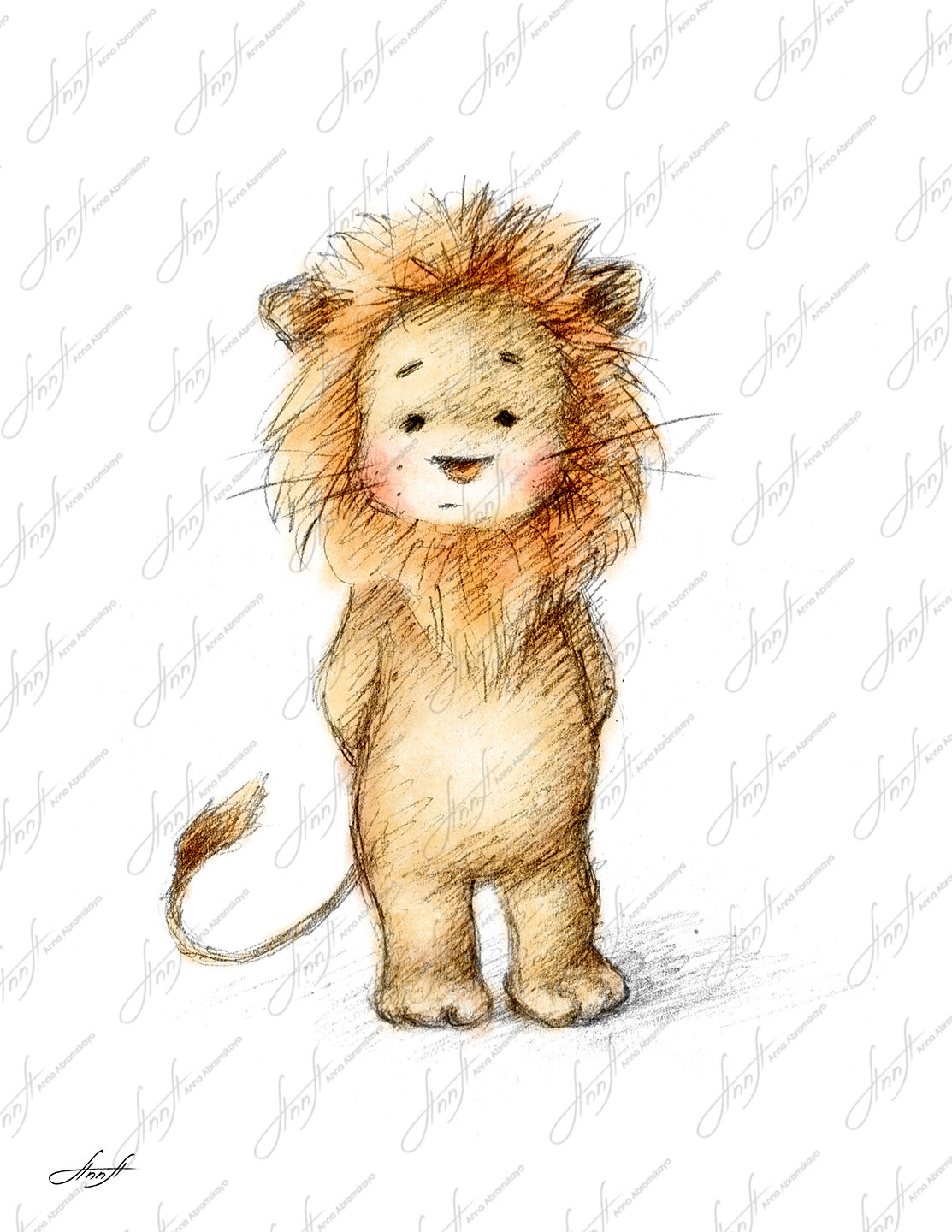 1113x1440 Pencil And Watercolor Drawing Of Lion, Nursery Picture, Nursery