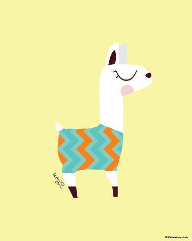 378x473 Baby Llama In Zigzag Print Poster Modern Animal Illustration
