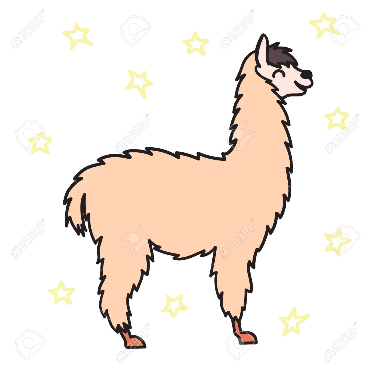 1300x1300 Vector Illustration Of Cute Character South America Lama. Isolated