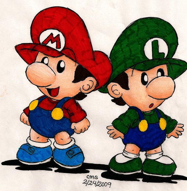 600x613 Baby Mario Bros By On @